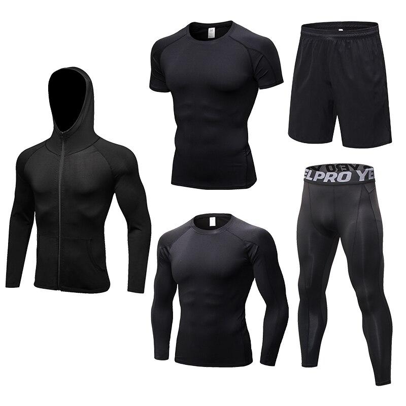 YEL Men Breathable Fitness Sport Suit Basketball Soccer Football Tennis Fitness Gym Tight Tracksuit For Men