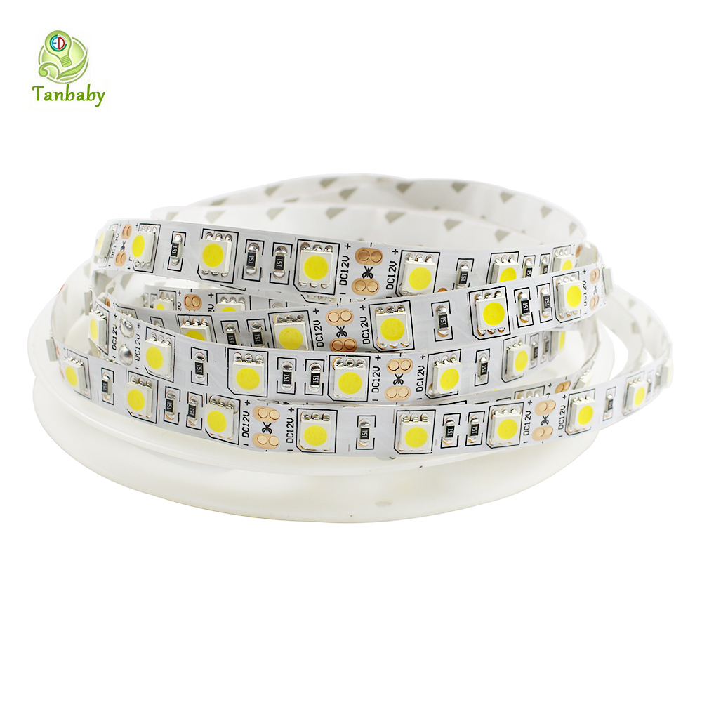 SMD 5050 LED Strip Light DC12V 4000K Nature White LED Flexible Strip Light Ribbon Tape Non-waterproof String Rope 5M 300 LEDs