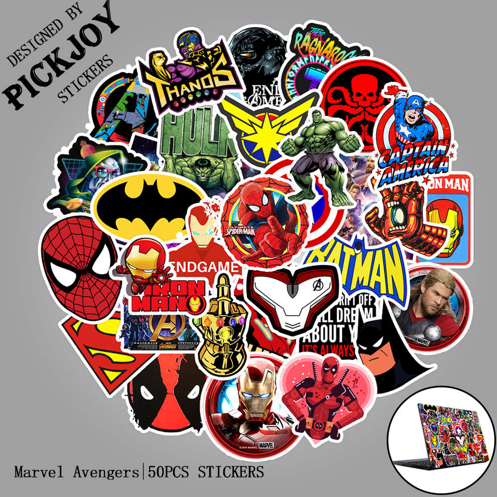50pcs/Pack Marvel Avengers Movie Stickers Super Hero Cool Stickers Luggage Laptop Motorcycle Phone Waterproof Toy Stickers Gifts
