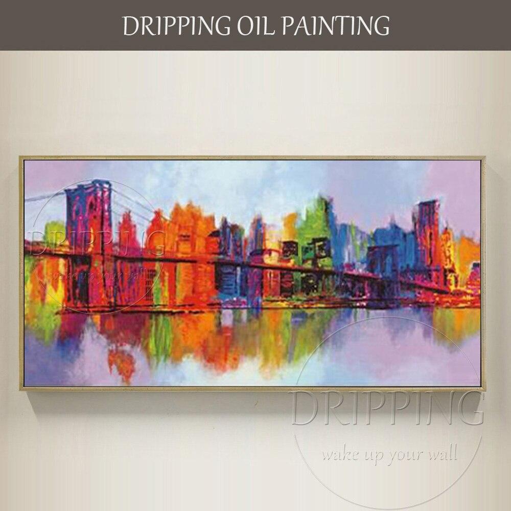 Художественная ручная роспись, высокое качество, абстракция, Нью Йорк, пейзаж, картина маслом на холсте, абстрактная красочная масляная жив