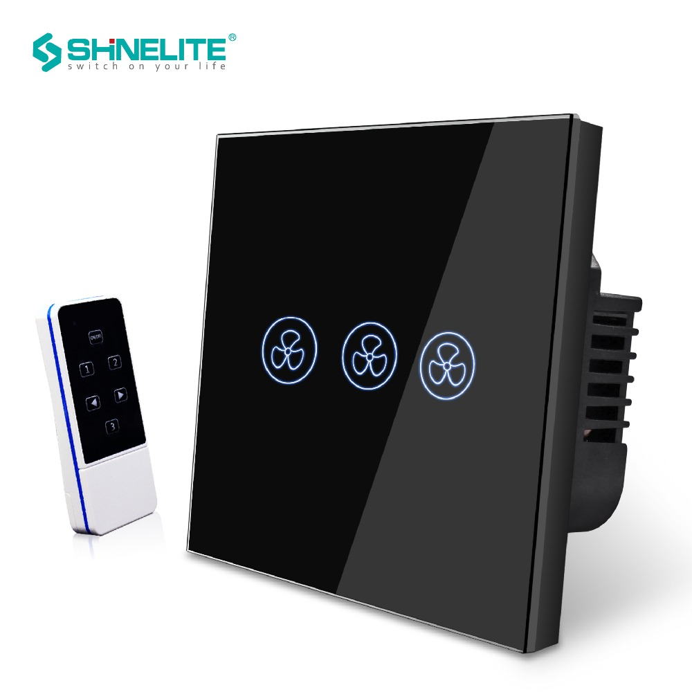 SHINELITE EU Standard 3 Mode Remote Control Fan Switch,Speed Regulation,White Crystal Glass Panel, AC 110~240V Home Wall Switch luxury uk standard wireless remote control for ceiling fan crystal glass panel 600w fan speed regulation wall touch switch