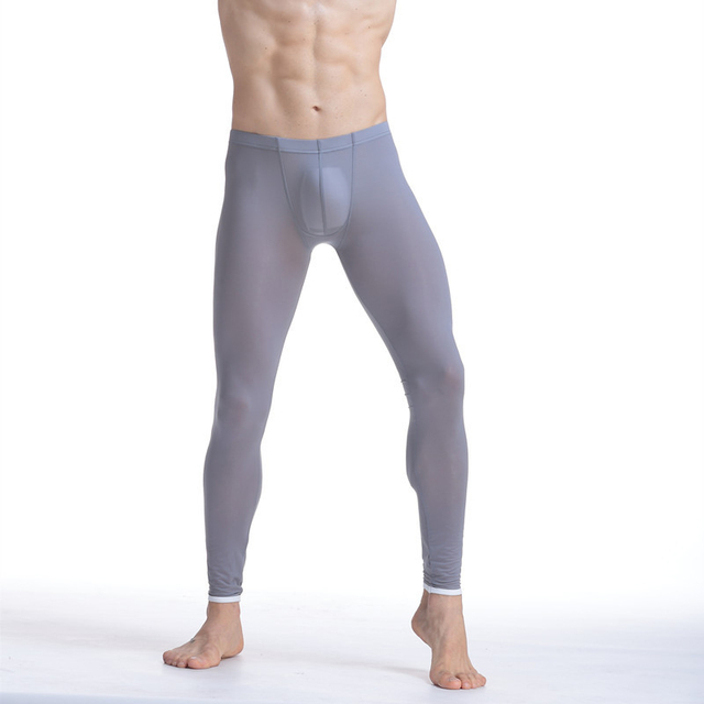 Men Sexy Ultra Thin Stretch Underwear Transparent Pouch Ice Silk Long Johns Pants Mens Home Lounge Pajamas Bottoms Sleepwear