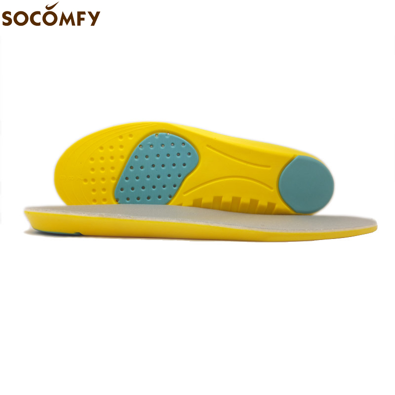 SOCOMFY PU Silicone Gel Sports Insoles Sweat Absorption Pads Running Sport Shoe Inserts Breathable Insoles Foot Care Expert