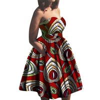 Fashion Summer African Dresses for Women Dresses Bazin Riche Wax Print Party Dresses Strapless Dress For Girls