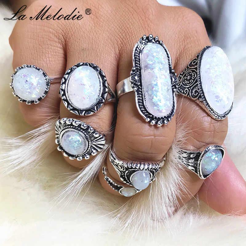 พจนานุกรม Melodie 8 ชิ้น/เซ็ต Vintage โบราณแหวนเงินโอปอลที่มีสีสันหิน Knuckle Finger แหวน Midi ชุดสำหรับผู้หญิงเครื่องประดับ Bohemian