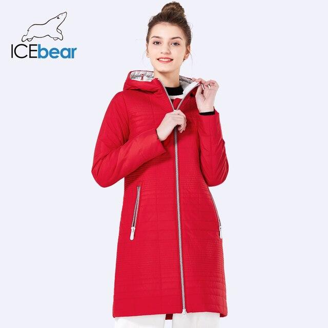 ICEbear 2019 Primavera Casacos Com Capuz Senhoras Da Forma das Mulheres Longas De Algodão Parkas Jaqueta Acolchoada Para As Mulheres 17G292D