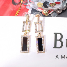 Korean Handmade Silver Needles Anti-allergy Rectangle Rhinestone Drop Earrings Dangle Earrings Fashion Jewelry-BYD5 rectangle fake gem drop earrings