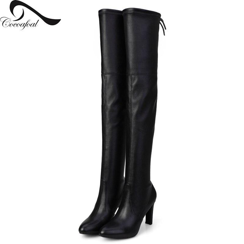 ФОТО Sheepskin Elastic Cloth 15 New Winter Blac Fashion Wild Boots Nubuck Leather Knee High Boots Women Short Plush Warm Boots Martin