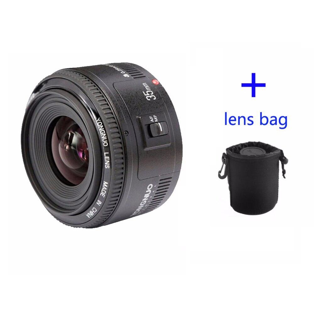 Yongnuo 35mm lente yn35mm f2 para canon grande angular grande abertura fixa lente de foco automático ef montagem eos câmera pode ser escolher saco