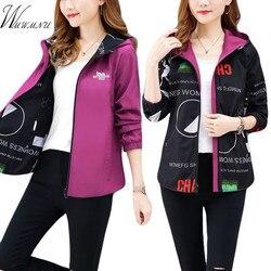 Streetwear bluza z kapturem drukowane kurtka kobiet i przyczynowy wiatrówka podstawowe kurtki 2019 nowy dwustronna z daszkiem zamki kurtka 4XL 4