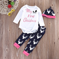 3pcs Baby Clothing Set Cartoon Baby Boy Girl Long Sleeve Romper + Reindeer Print Pants + Hat Outfit Infant Clothing Set