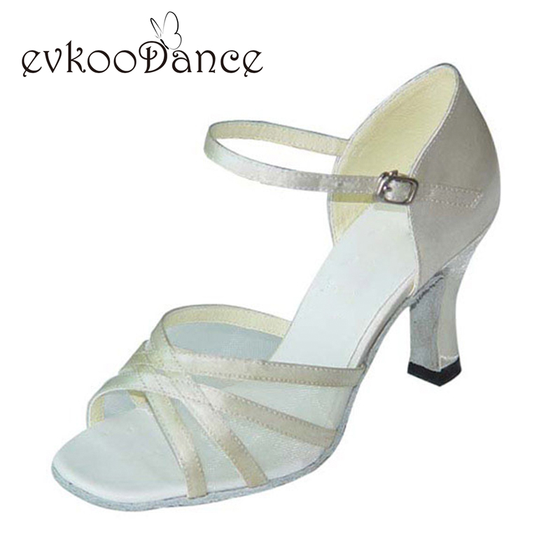 Latin shoes girls Satin mesh Leather sole Meduim width 7cm heels white silver gold latin shoes women sandals NL032 акустика центрального канала heco elementa center 30 white satin