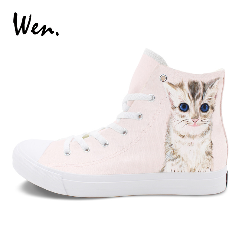 Wen Women Platform Canvas Sneakers Pet Kitten Cat Hand Painted Shoes Men Top High Lace up Plimsolls Graffiti Espadrilles Flat e lov new arrival luminous canvas shoes graffiti pisces horoscope couples casual shoes espadrilles women