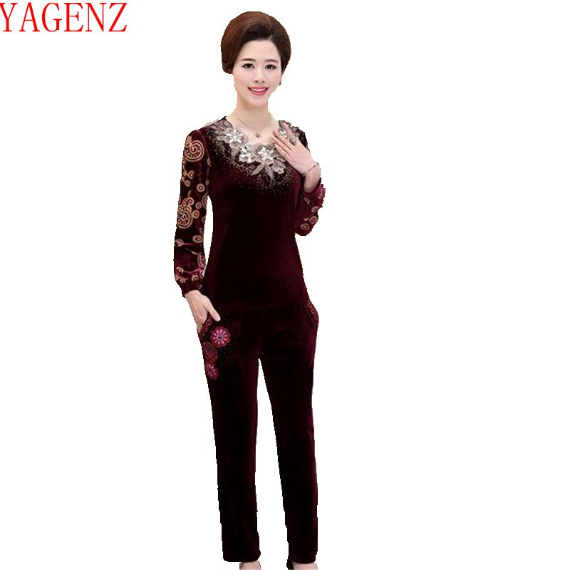 YAGENZ 2017 Large size Women clothing Middle-aged Fashion pleuche Sporting suit set Spring clothing leisure new 2Piece set KG432