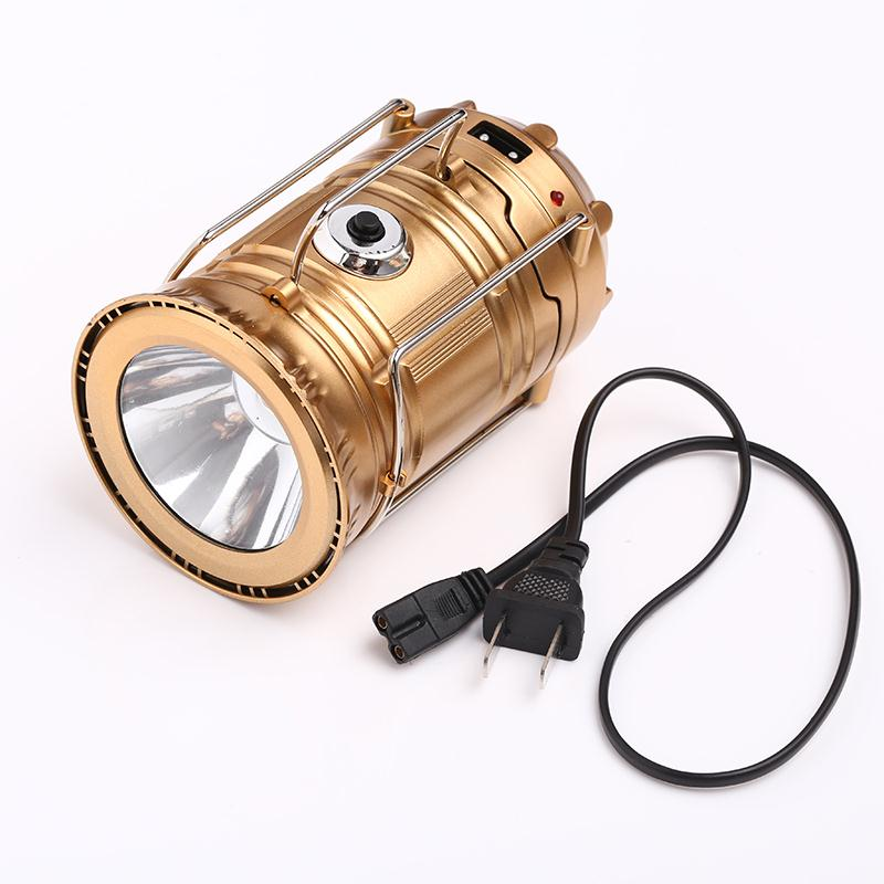 Gold Collapsible Solar Outdoor Rechargeable Camping Lantern Light LED Hand Lamp Outdoor Tool Camping Hiking Climbing Tools