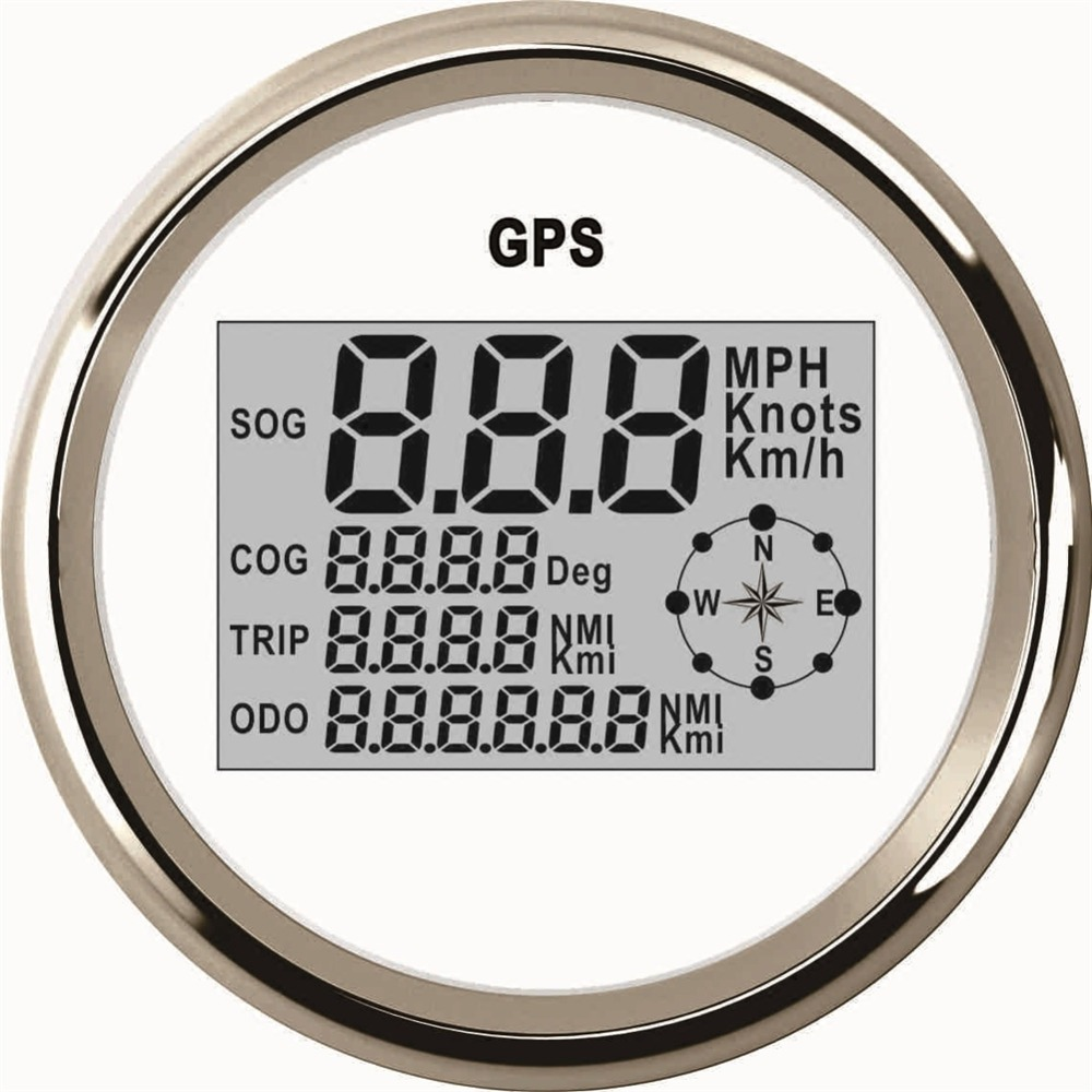 1pc 85mm Digital GPS Odometers MPH Knots KM Auto Motorcycle Gauges Speedometers Sog Sog Trip Meter