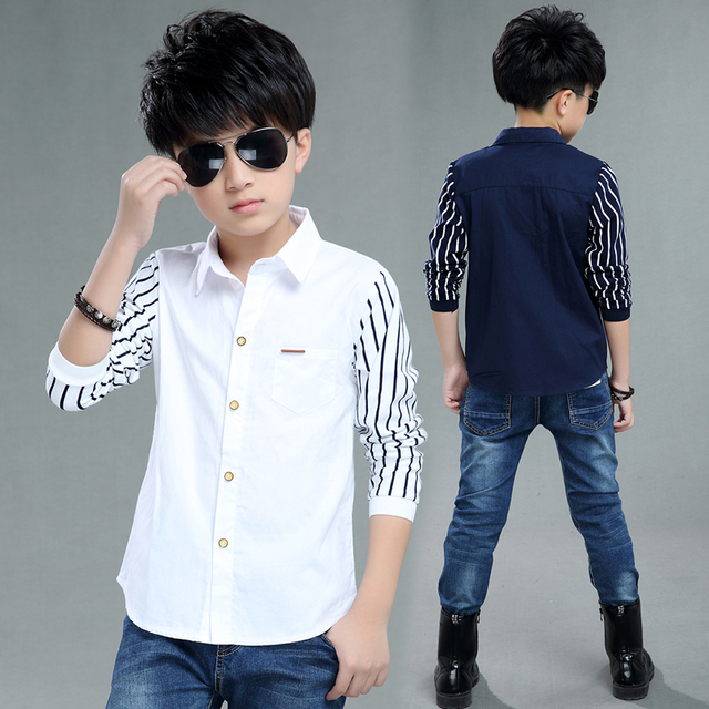 Kids Clothes Spring Autumn Boys Cotton Blouses Kids Boys Long Sleeve Shirt Children Fashion Shirt 5-14 Years Turn-down Collar