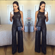 Sexy Off Shoulder Backless Black Sequined Lace Rompers Womens Jumpsuit 2016 Fashion Eurpean Night Club Wear Sleeveless Jumpsuits