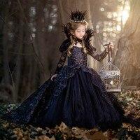 Британская сказочная юбка американка для принцессы, черное детское платье со шлейфом, костюм Снежной Королевы