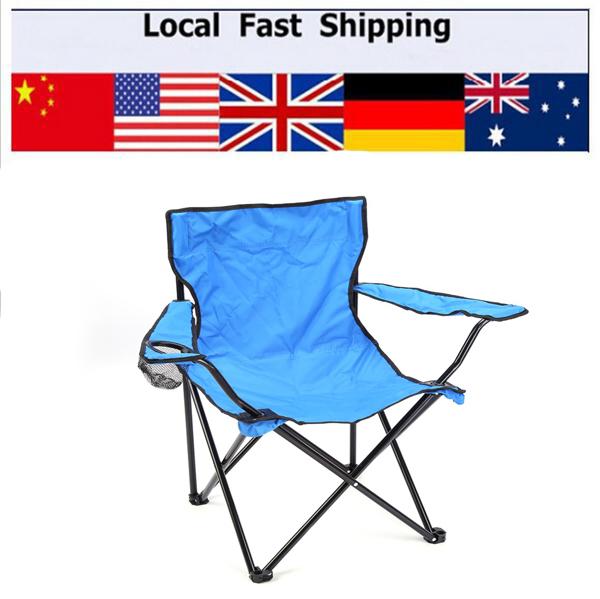 Azul Portátil Dobrável de Acampamento Do Piquenique Viagem Braço Cadeira de Poliéster Ao Ar Livre Casa