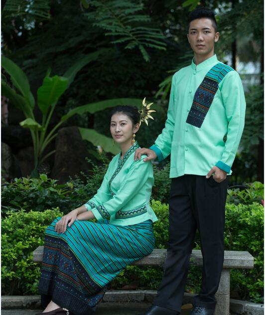 Купить с кэшбэком Thailand Dai princess Robe dress men's and women's long sleeved Hotel restaurant work clothes suits waiter Dai ethnic Outfit