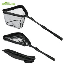 Booms Fishing N04 Landing Net with Telescopic Handle, Compact Folding Nylon Mesh 38cm-56cm Tackle