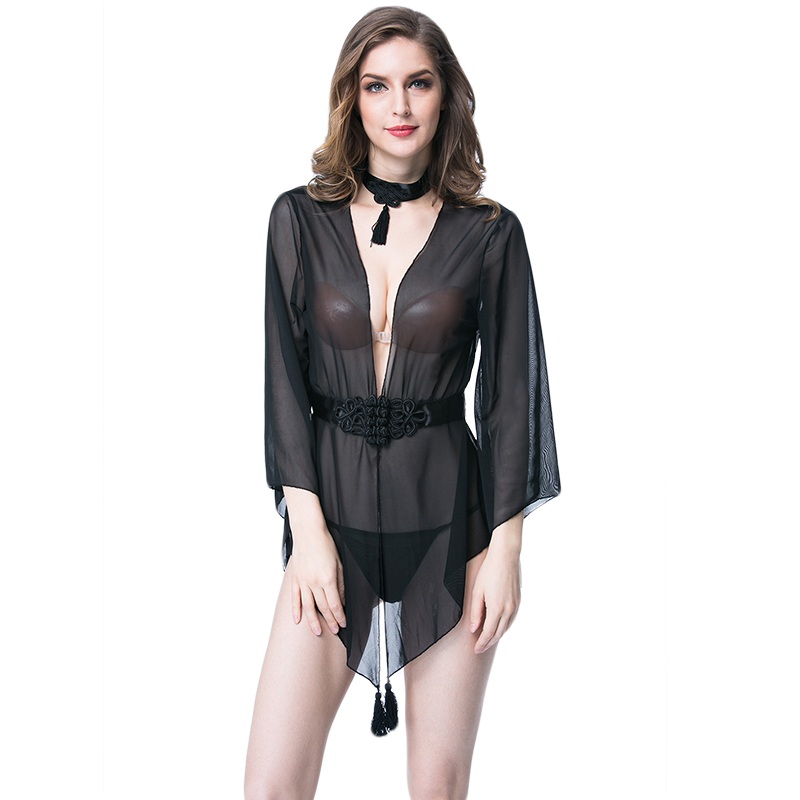 Plus Size XL 2017 Hot Black Sexy Babydoll Chiffon Lingerie Sexy Women See Through Slip Bathrobe Sleepwear Nightdress W680656