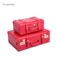 Chinese red fashion vintage suitcase High quality PU Travel Bags Women's short distance travel shopping essential backpack