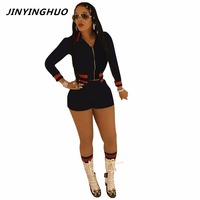 Jinyinghuo 2017New وصول الخريف نمط المرأة بذلة اثنان قطعة ارتداءها النساء وزرة النادي playsuit