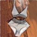 Verano Playa de Las Mujeres Traje de Bikini Halter Sexy Cuello En V Profundo Backless Gris Monos Shorts Tops Chándal 2 Unidades Conjuntos