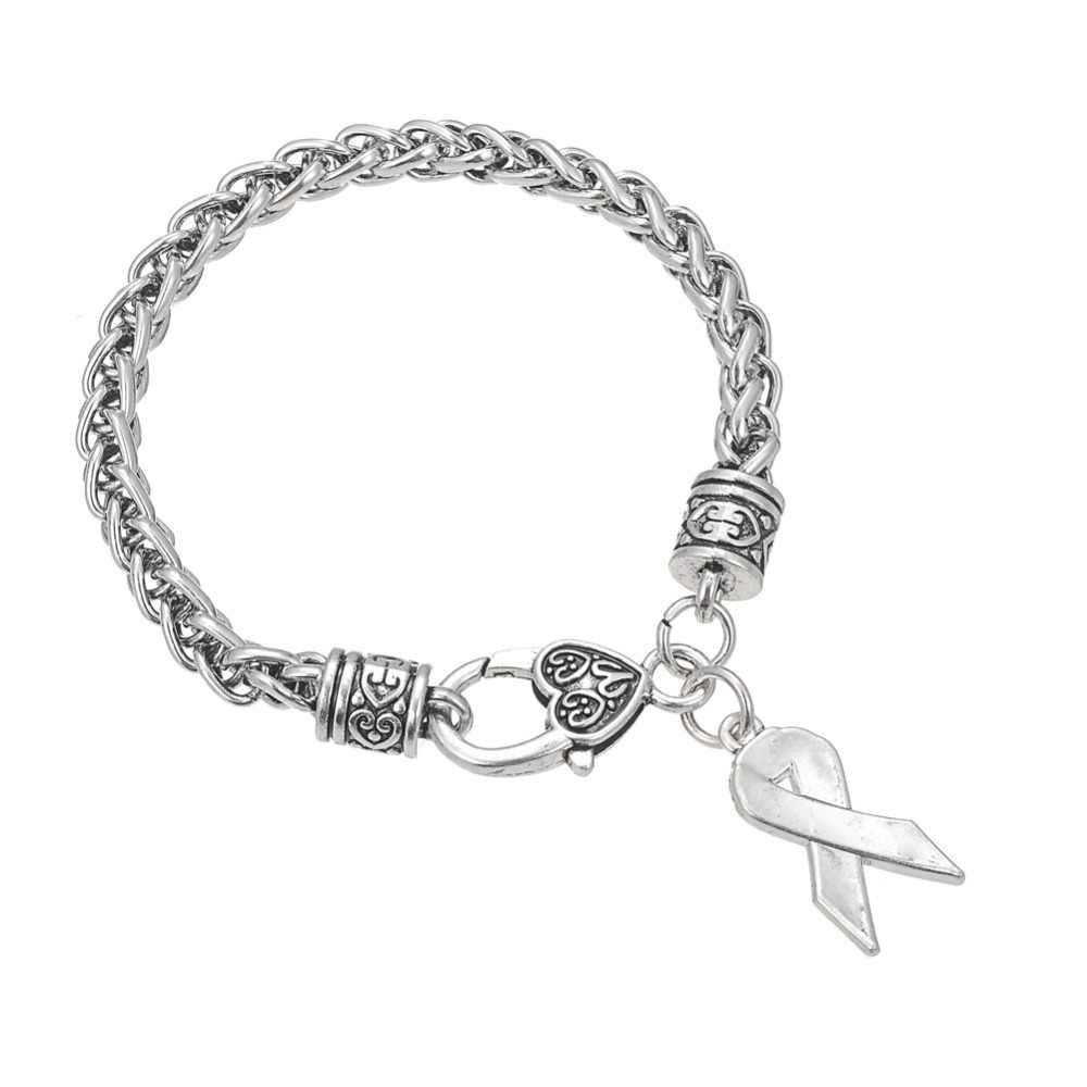 Teamer marque mélange de couleurs ruban rose sensibilisation au Cancer charmes Bracelet en cristal