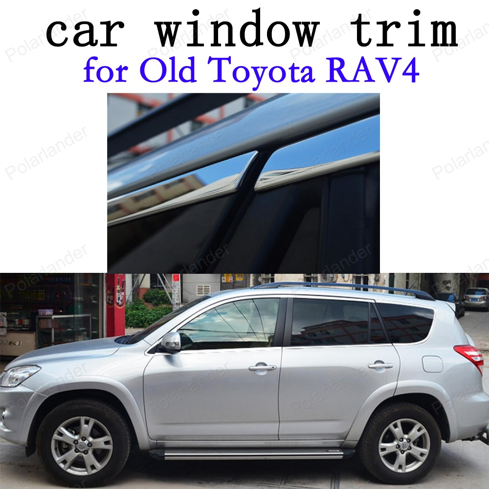 Car Exterior Accessories Decoration Strips Stainless Steel Window Trim for Old Toyota RAV4 without column 20 pcs stainless steel exterior side window