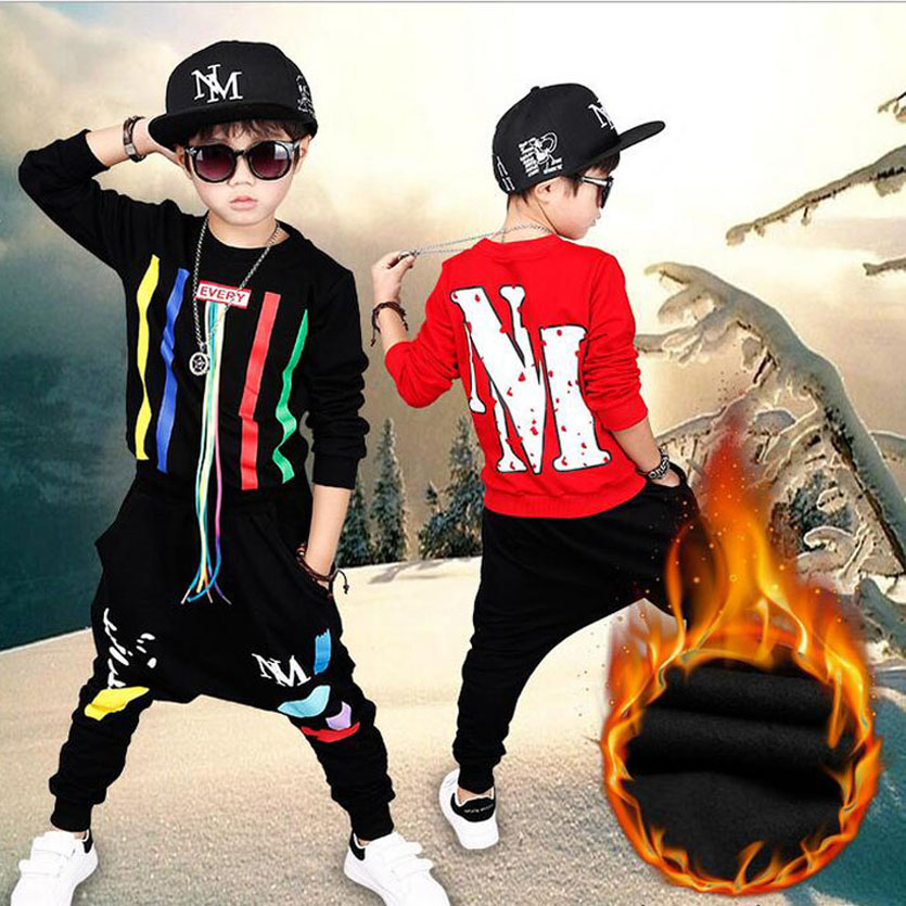 Boys Winter Sets Brand Kids Tracksuit Casual Boys Clothes Set Handsome Boys Set Vetement Enfant Garcon Fleece Kids Sport Suit 2017 new kids clothes children summer clothing sets baby boys hip hop cotton costumes tracksuit vetement enfant garcon roupa