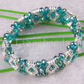"Free Shipping New without tags Fashion Jewelry Green Faceted Beads Stretch Crystal Bracelet 7""  1Pcs RH700"