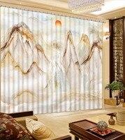 Шторы 3d пользовательских шторы Home Decor современный Мрамор водопад Восход дома и декора красивые фото