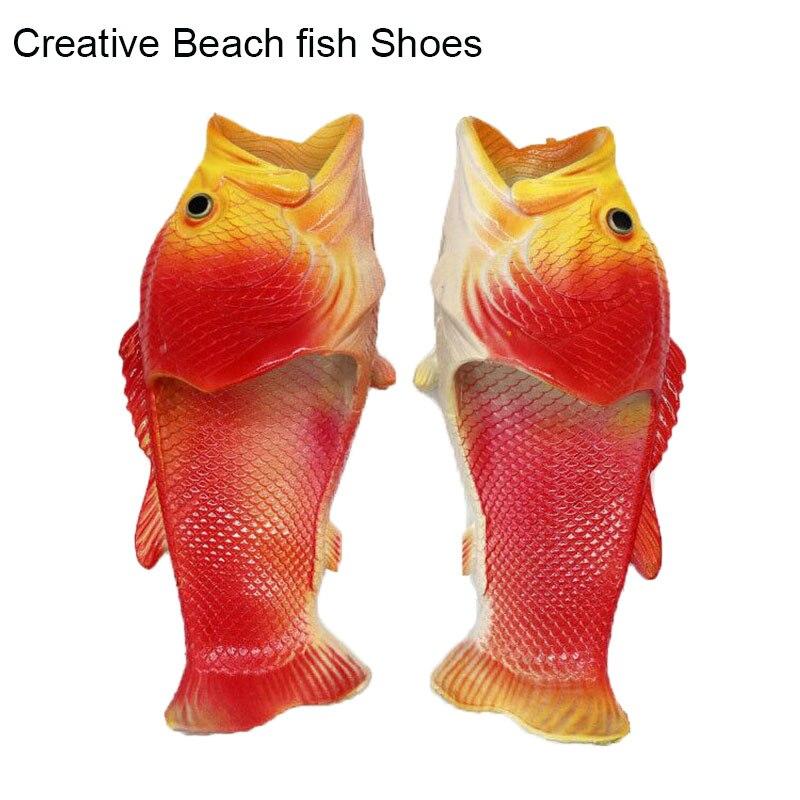 Kreative Fisch-förmigen Männlichen Hausschuhe Wort Drag Sommer Outdoor Drag Männer Und Frauen Strand Schuhe Fisch Slippers2019