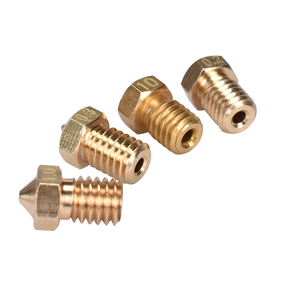 BIQU 10Pcs 3D Printer 3D V6&V5 J-Head Brass Nozzle Extruder Nozzles 0.2/0.25/0.3/0.4/0.5/0.6/0.8/1.0 Mm For 1.75/3.0mm