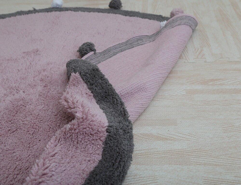 120 cm épais polaire Pom Pom enfants chambre décoration en peluche tapis de jeu tapis anti-dérapant grand tapis de sol rond tapis bébé ramper tapis - 6