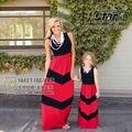 Семья Соответствующие Наряды Девушки Лоскутное Наборы детская Одежда Мать Дочь Пляж Платья Одежда Девушки Макси Красная Полоса платье