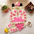 2014 autumn new Korean children's clothing girl sets wholesale cartoon printed cotton polka dot baby suit children 0-3 years