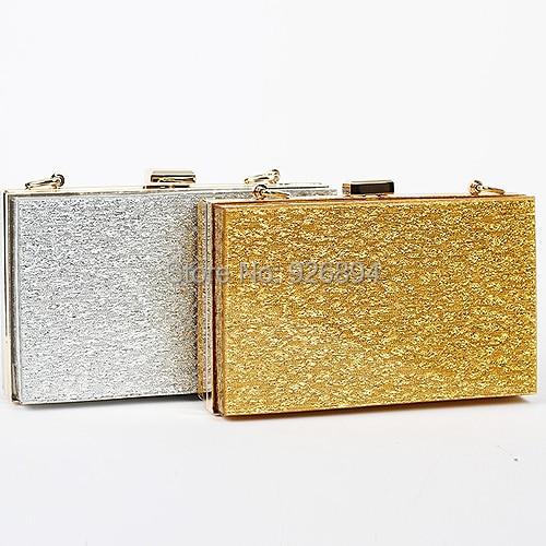 Acrylic personality casual fashion gold silver evening bag clutch purse  handbags vintage mini chain shoulder bag free shipping e3232acf0607