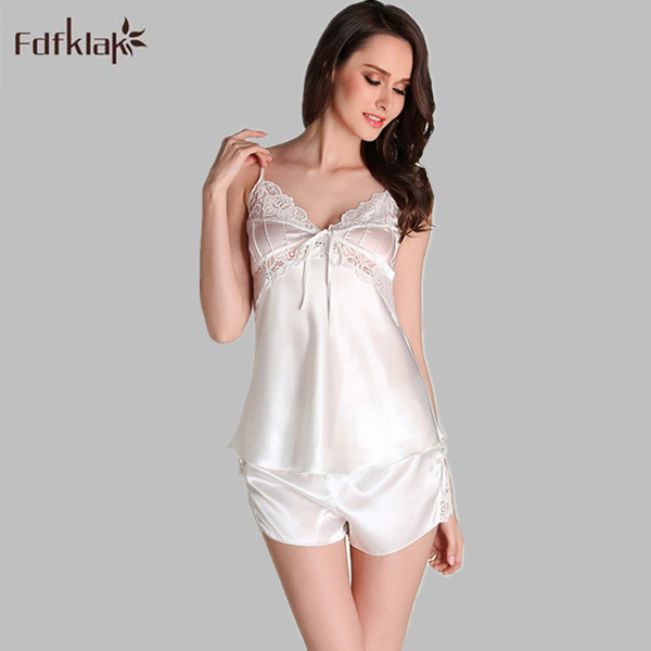 7f66b6c37f Pyjama Sexy Sleeveless Pajamas Summer Silk Pajamas For Women Pajama Sets Satin  Sleepwear Womens Pyjamas Black White E1131