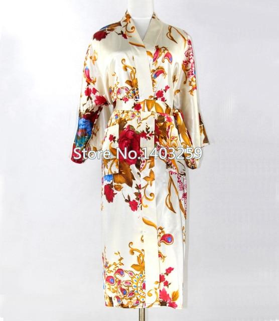 Unisex Men & Women de seda del Faux Kimono Robe Bath vestido chino para hombre larga ropa de dormir con cuello en v estampado de flores más el tamaño XXXL NR002