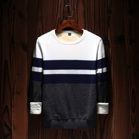 2017 Winter Sweater Men Thick Men's Clothing Spring Autumn Merino Wool Men Casual Youth Striped Sweater Pull Long Fashion Coats