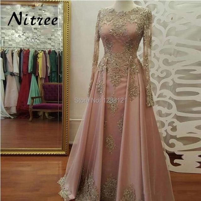 African Muslim Formal Evening Dresses Long Sleeves Turkish Arabic Dubai  Prom Gowns Dress Kaftan Glitter 2018 Abendkleider Gowns 67c265bac986