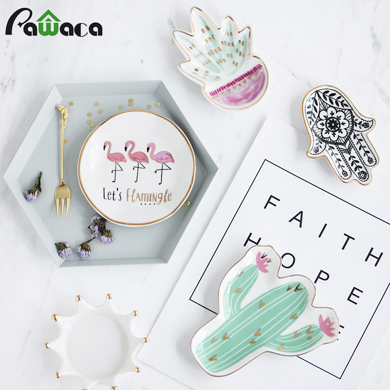 Nordic Style Cactus Flamingo Plate Ceramic Dish Decorative Crown Food Plate Jewelry Trays Rings Bracelets Holder Creative Gift