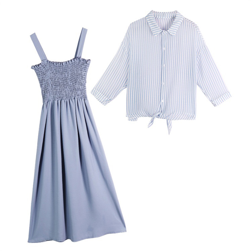 women summer dresses pullover sleeveless loose Knee-Length dresses 2019 Summer style Slash neck stripe two-piece dresses 5