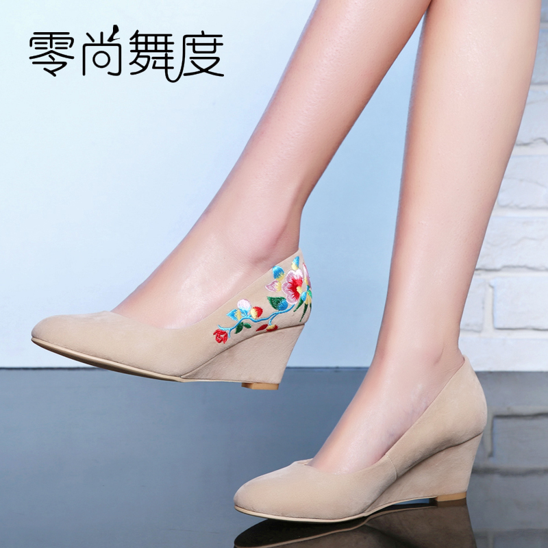 Black Beige Vintage Women Straw sandals new high-heeled wedge sandals national embroidered Floral pu leather shoes Girl sandals