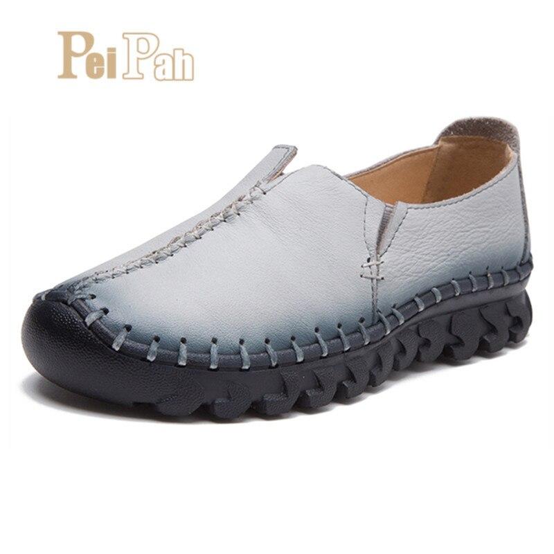 PEIPAH Casual Shoes Genuine Leather Women Flats