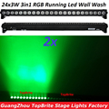 2 xLot AC100-240V 80 W focos LED pared lavado 24x3 W RGB Led Luz de inundación caballo tierra iluminación trasera larga bombilla